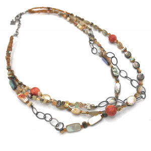 N1563 Silpada Coral Mixed Material Necklace (b)